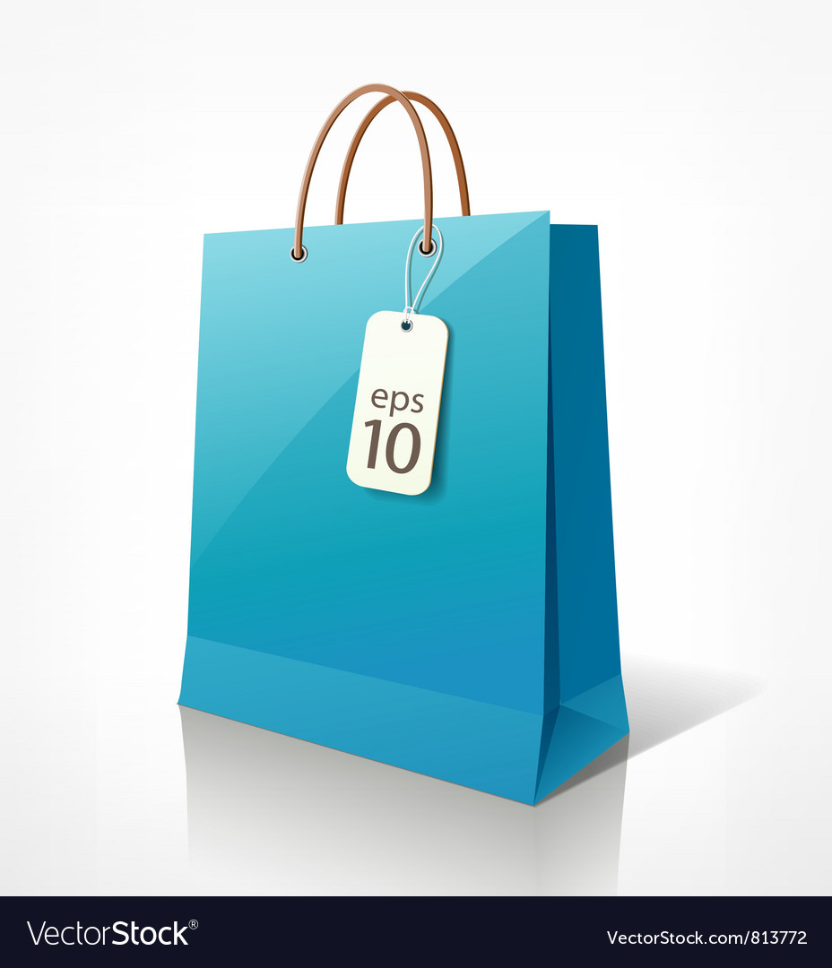Shopping blue bag vector