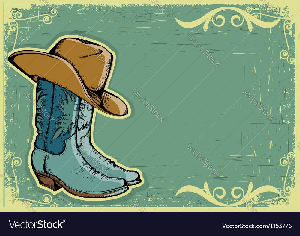 Cowboy boots image with grunge background vector