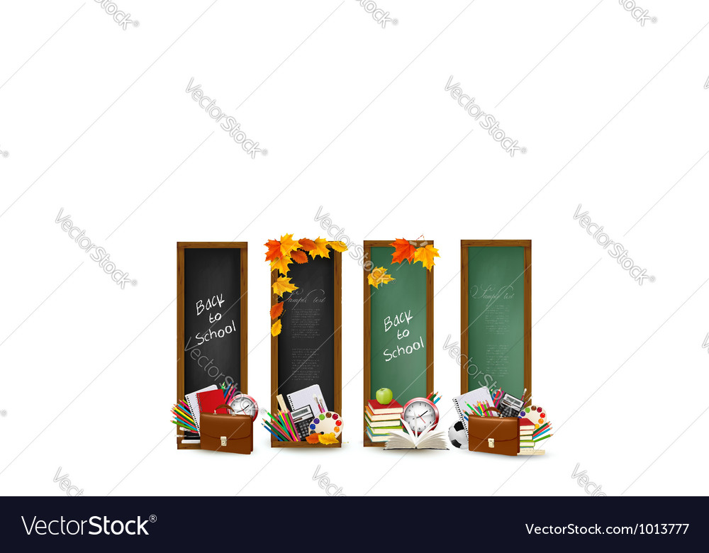 Four banners with school supplies vector