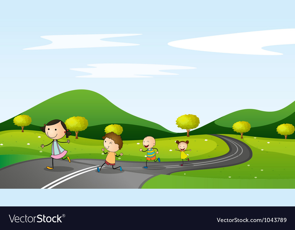 Kids walking background vector
