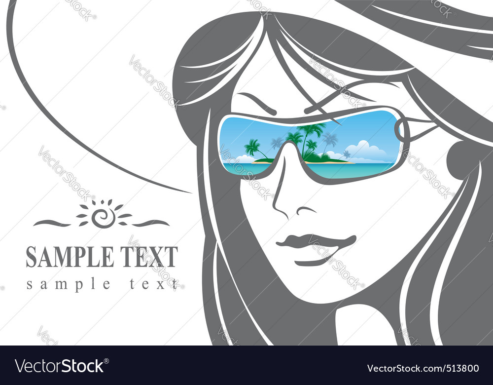 Girl in a hat and sunglasses vector