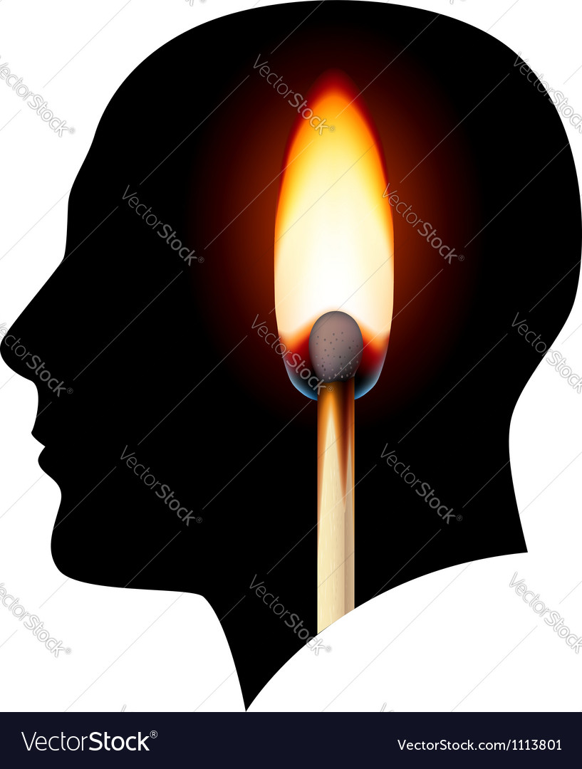 Creative ideas burning match vector