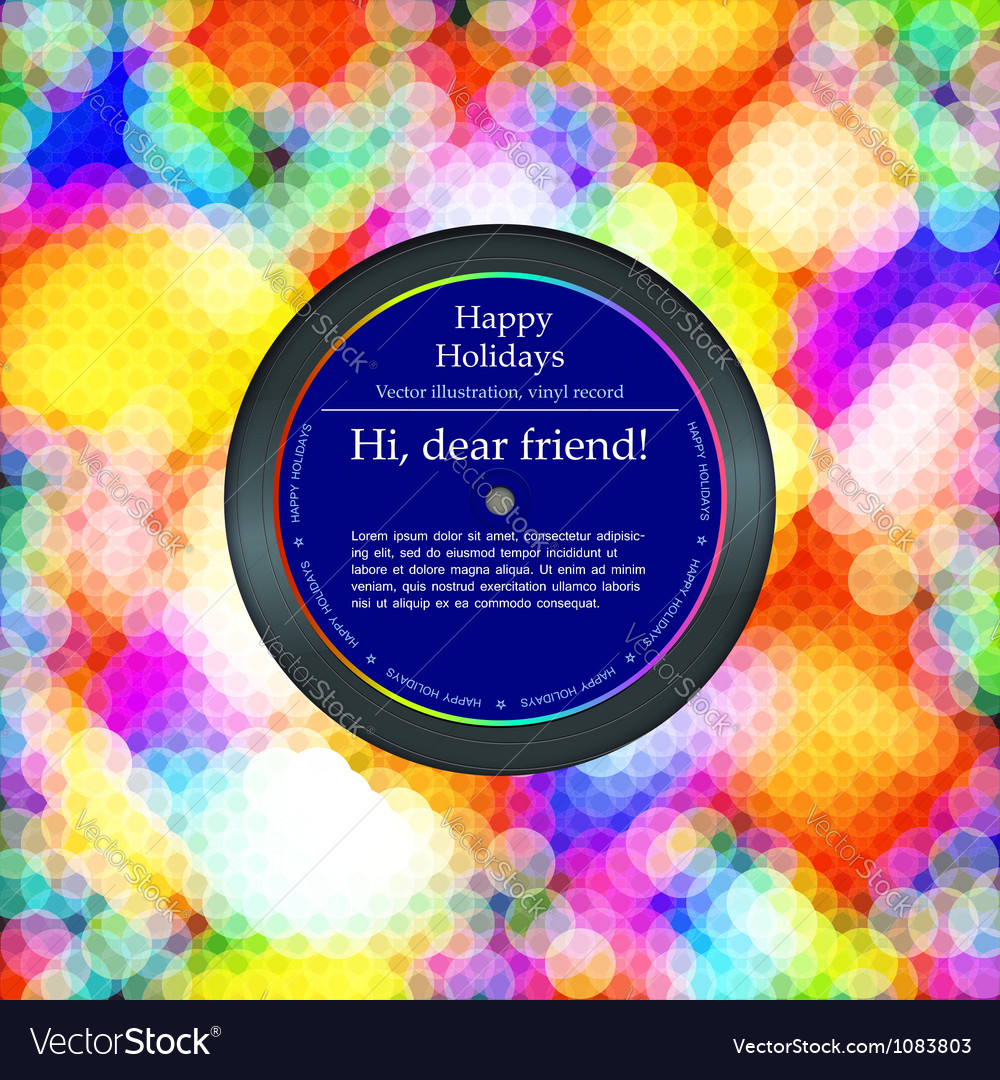 Vinyl record in the envelope colorful background vector