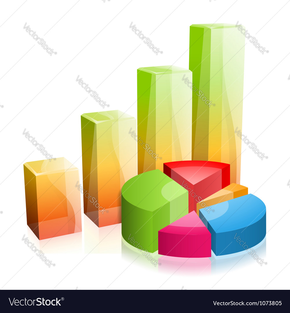3d glass graph vector