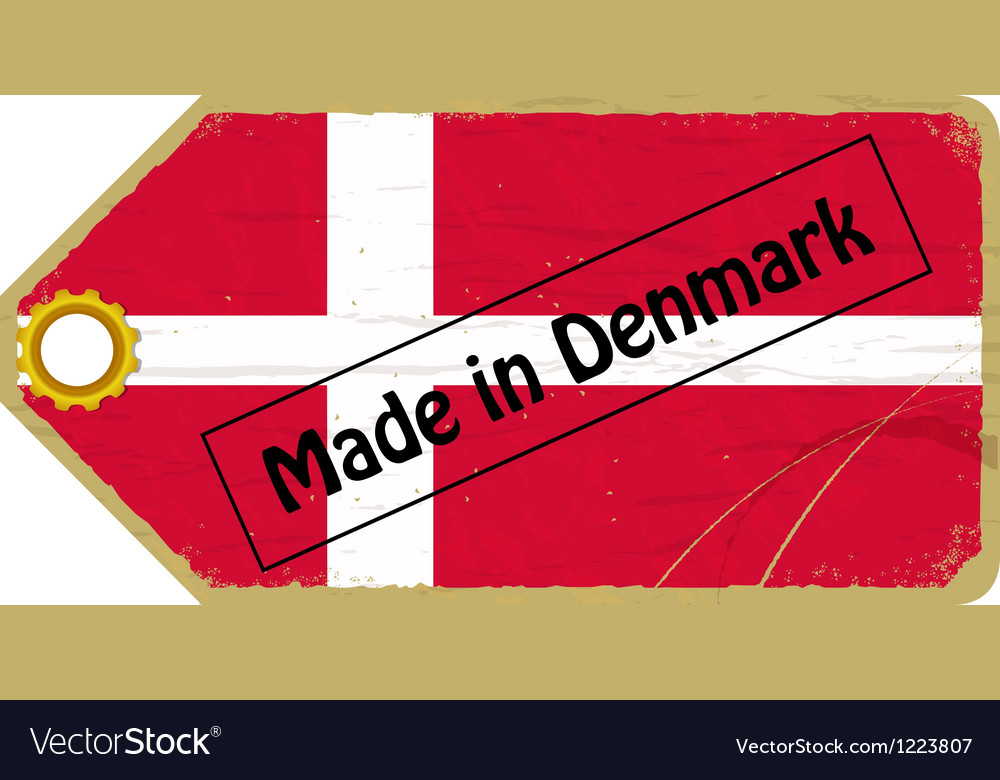 Vintage label with the flag of denmark vector