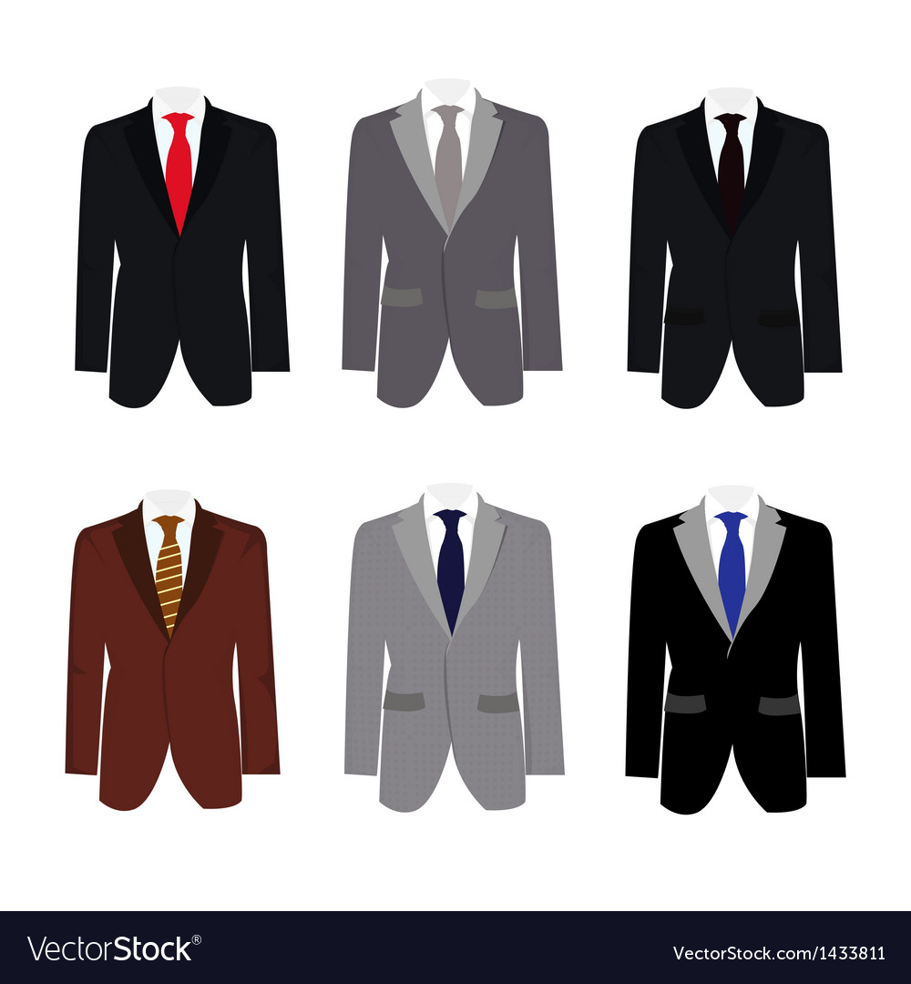 Set of 6 handsome business suit vector