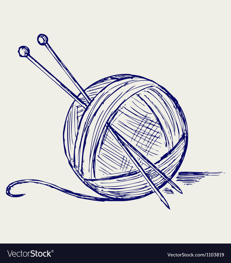 Yarn balls with needles vector