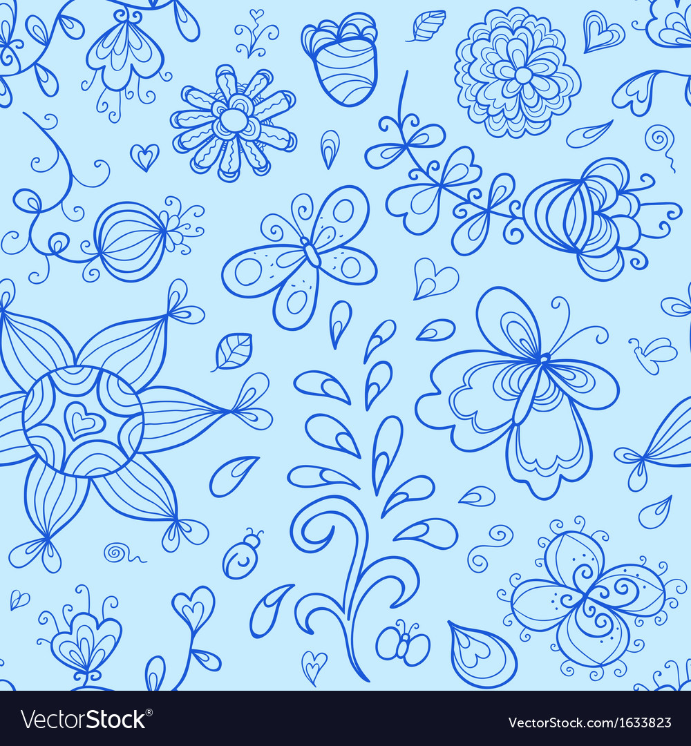 Seamless pattern nature stylized doodle elements vector