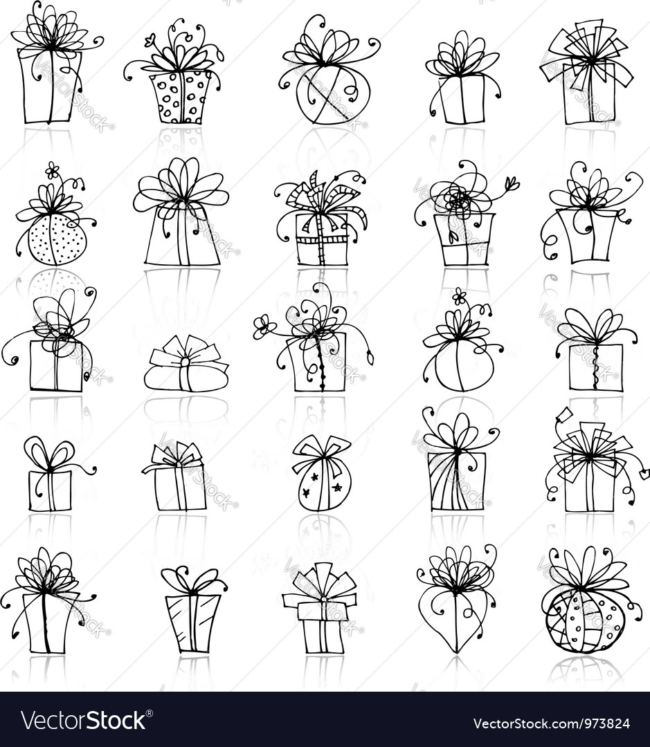 25 gift box icons for your design vector