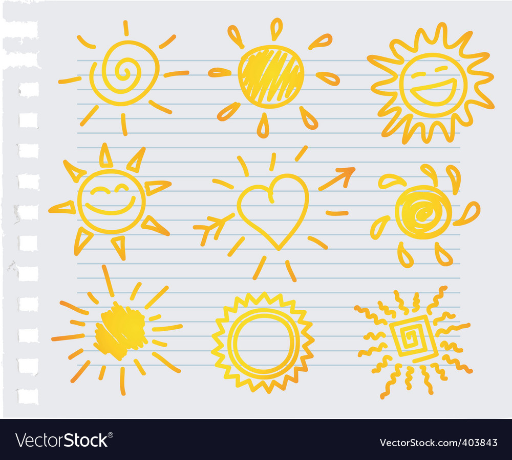 Paper sun vector
