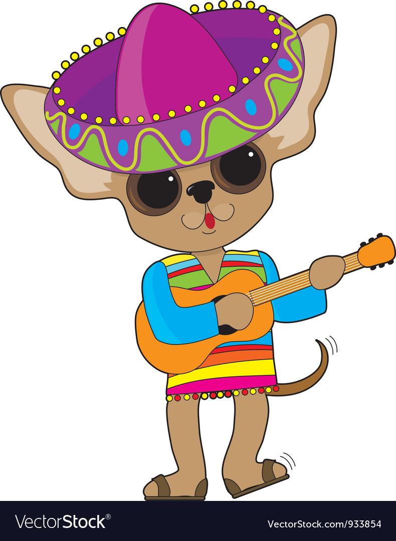 Chihuahua guitar vector