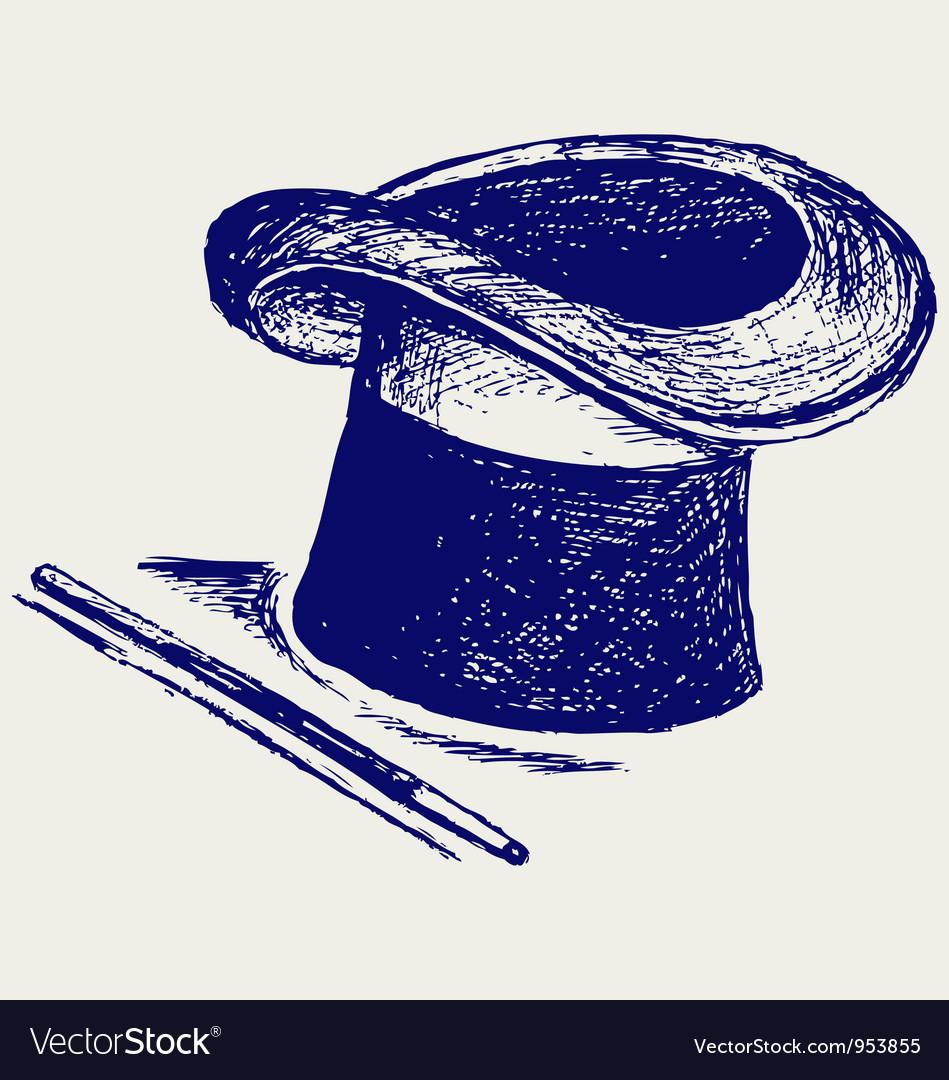 Magic hat with magic wand vector