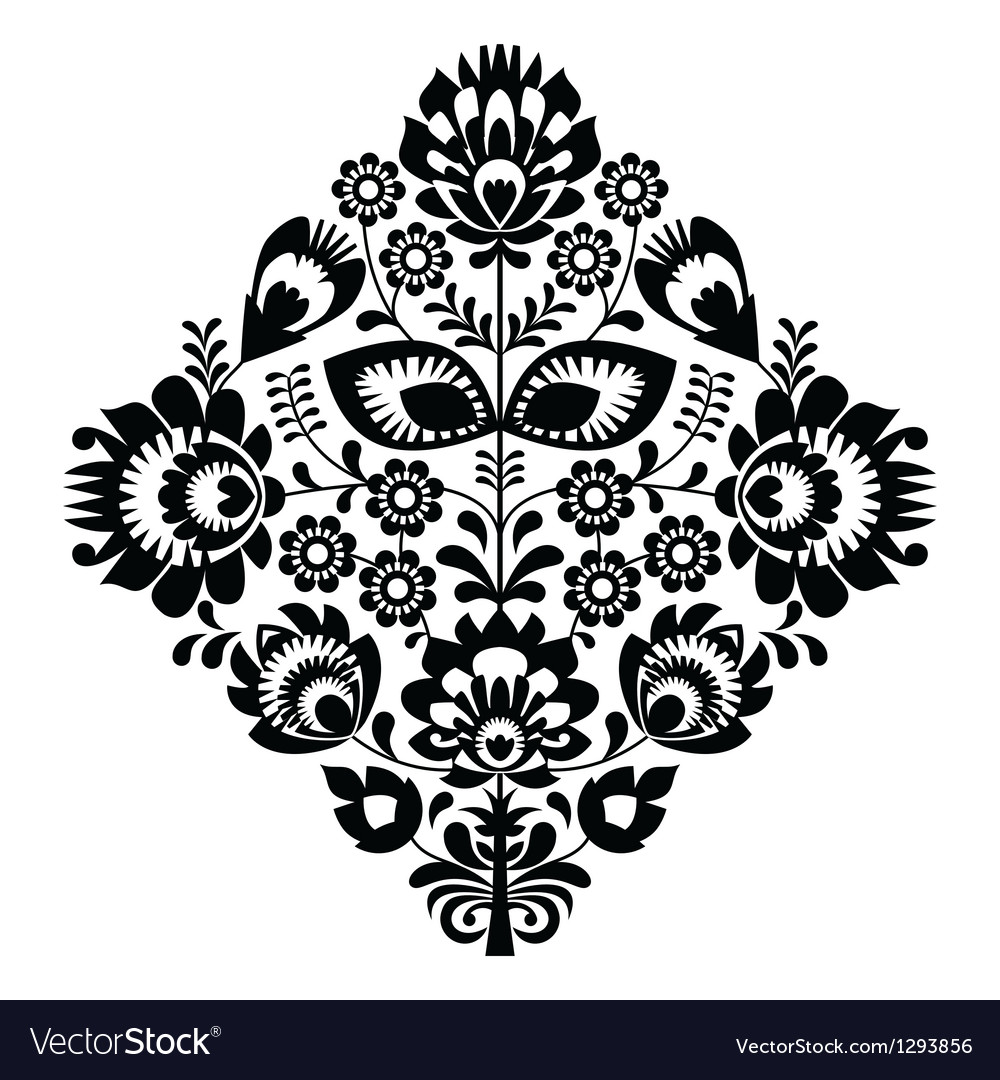 Folk embroidery with flowers - traditional polish vector