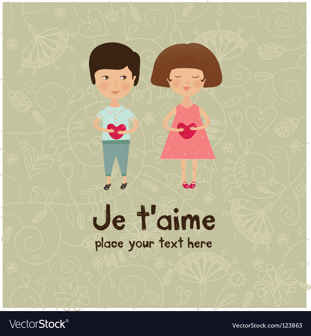 Valentine kids greeting card vector