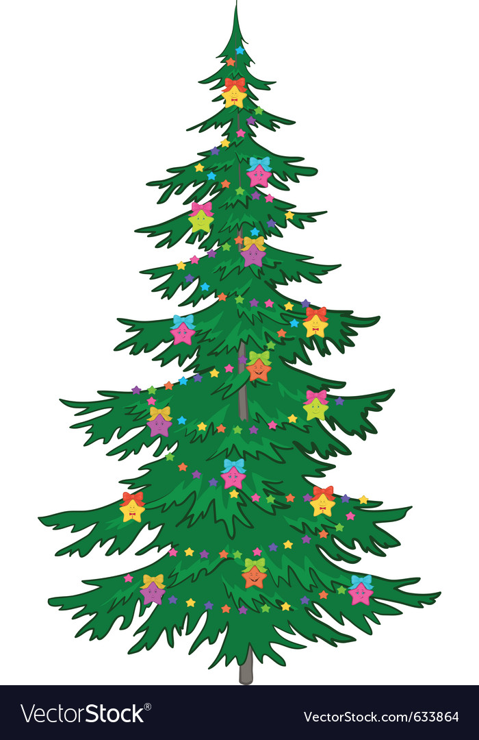 Christmas tree with ornaments vector art - Download vectors - 633864