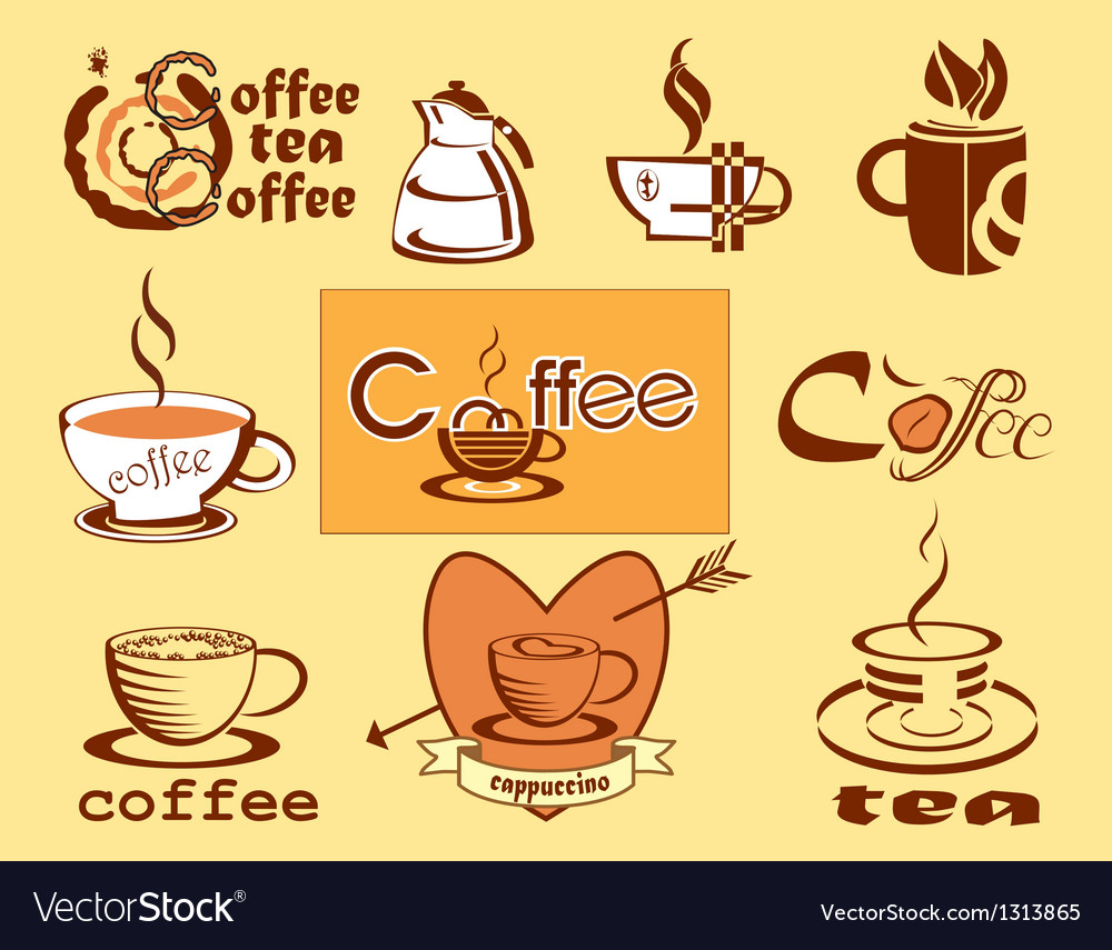 Coffee logotype menu icons vector