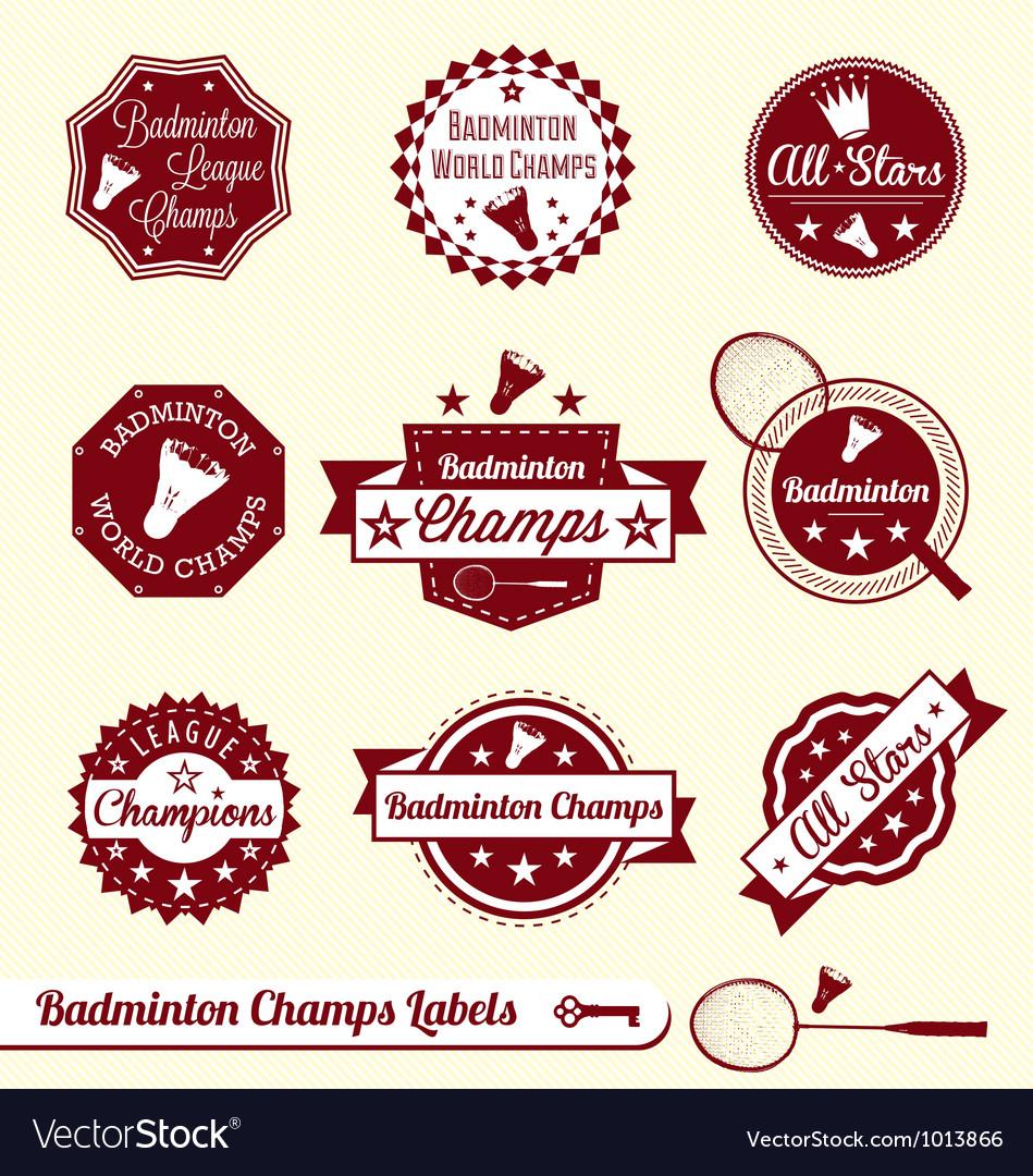 Badminton labels vector