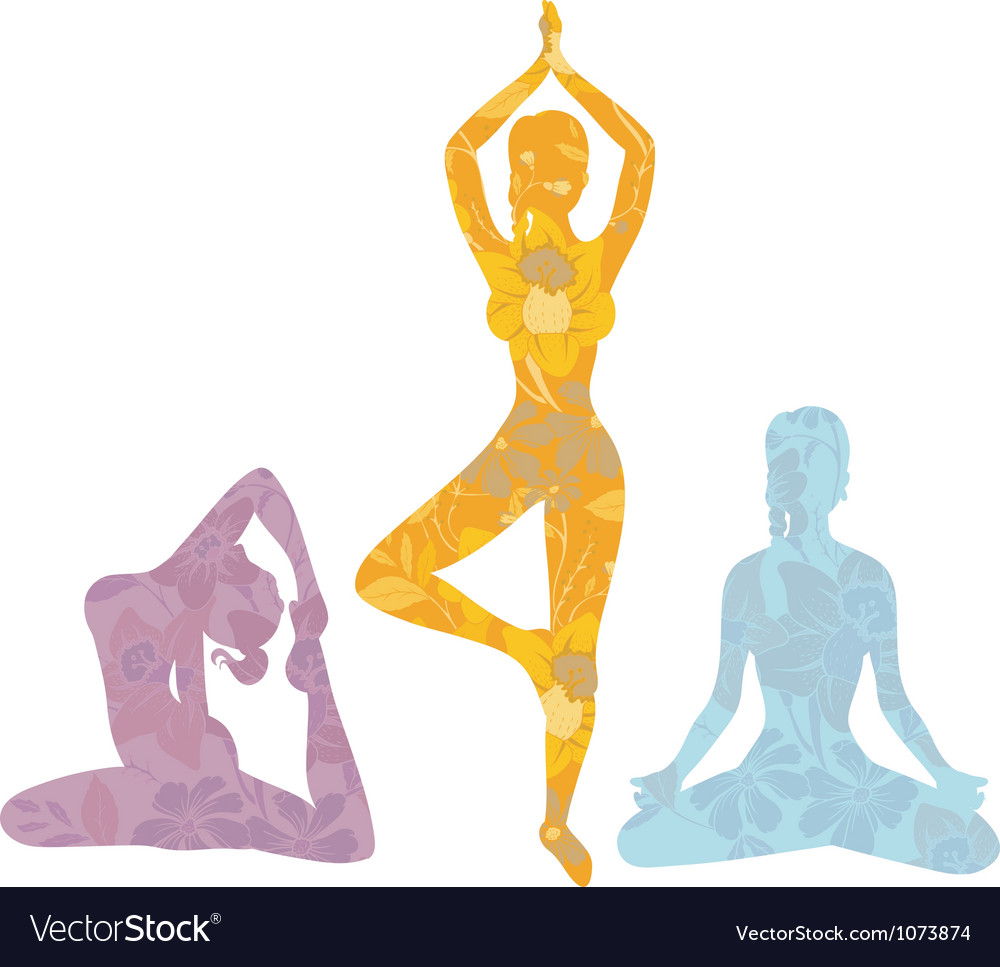 Yoga girls vector