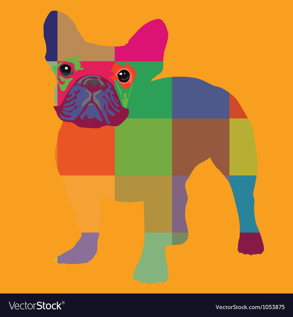 Nice color bulldog artprint vector