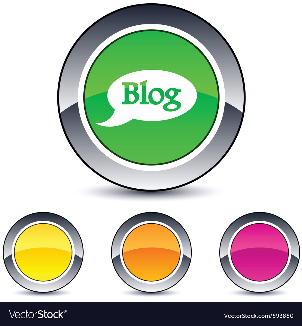 Blog round button vector