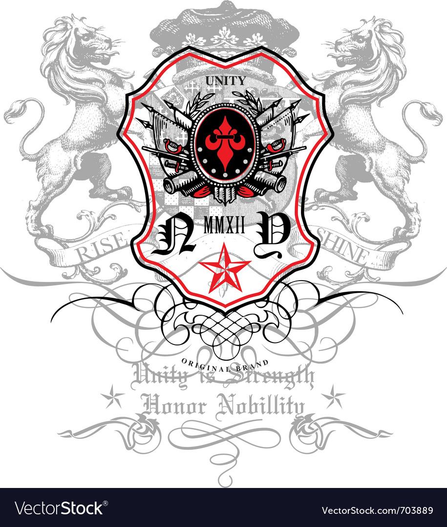 Rise and shine crest emblem vector