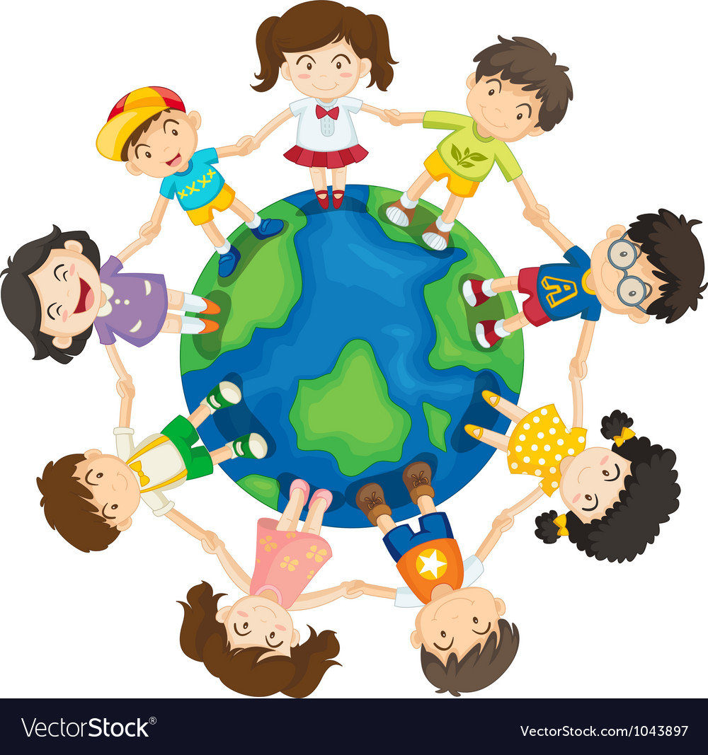 Kids around the world vector