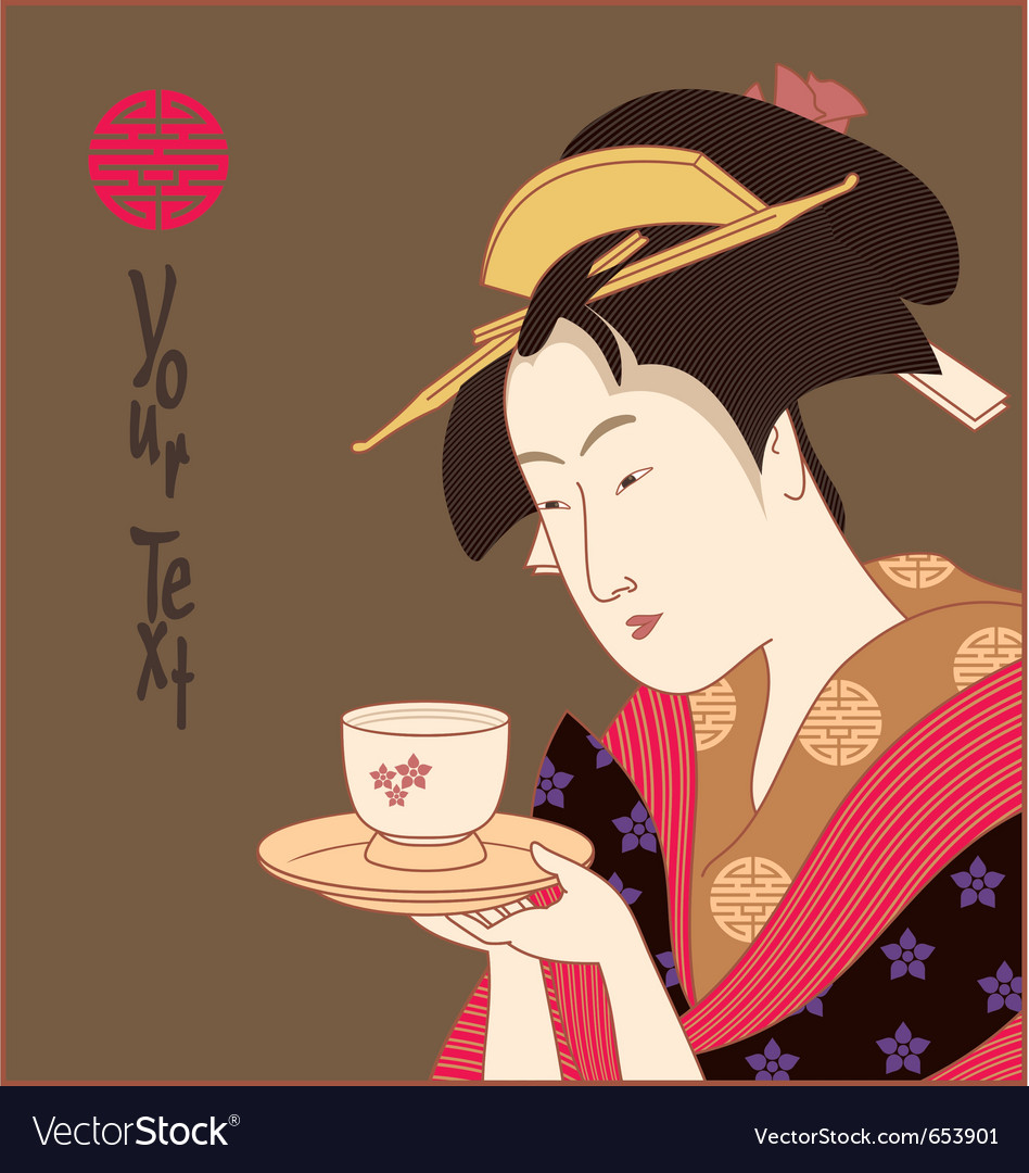 Japanese geisha with copyspace vector