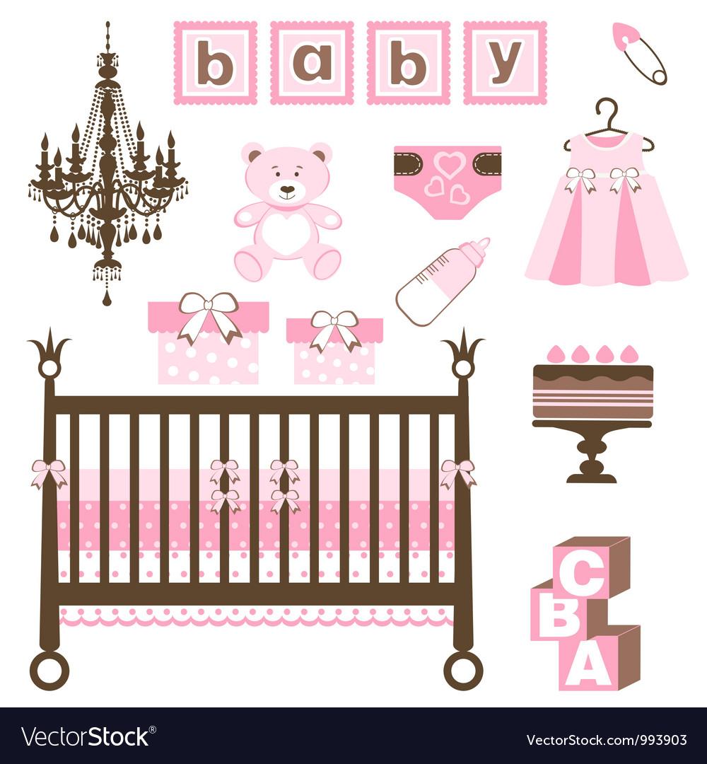 Baby girl set vector