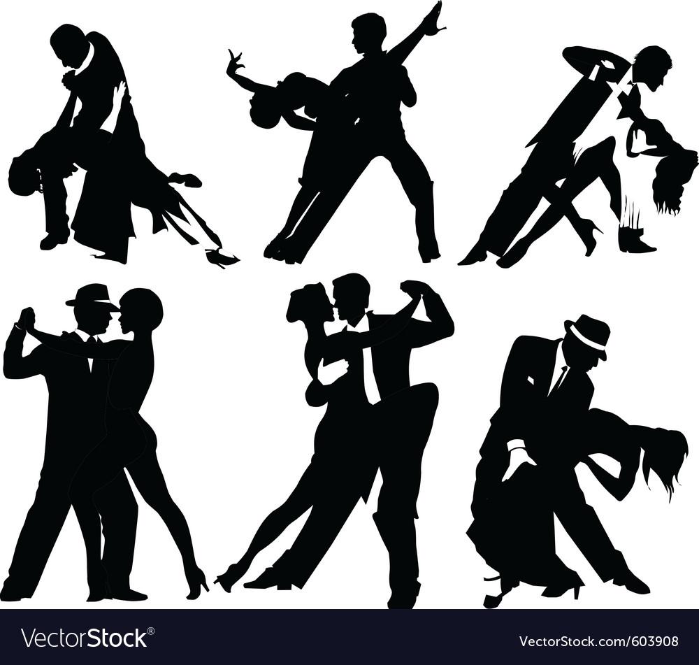 Ballroom Dancing Silhouette Vector Dancing silhouettes vector