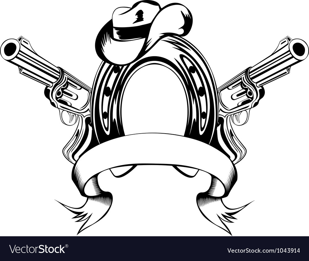 Horse shoe and cowboys hat vector