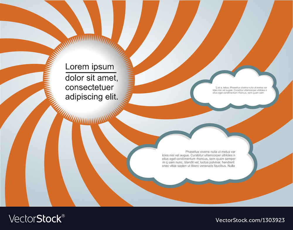 Sun and clouds background with place for your text vector