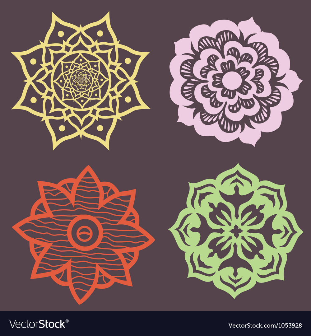 Decorative set of flowers lotus mandalas vector