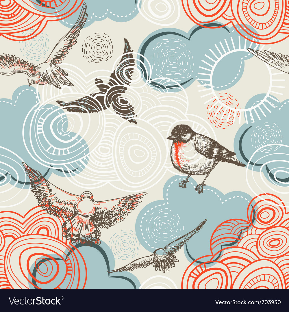 Birds and clouds pattern vector