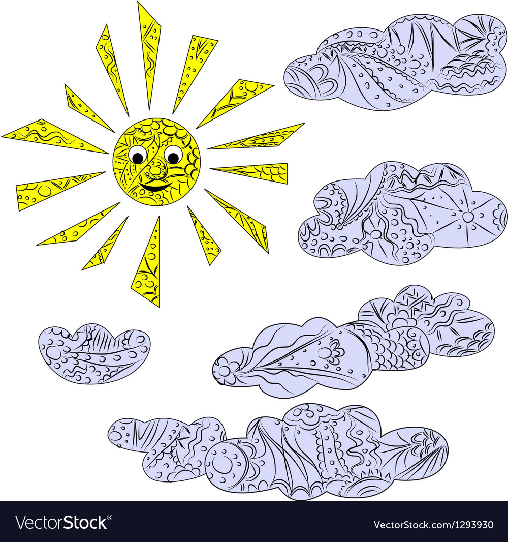 Clouds and sun vector