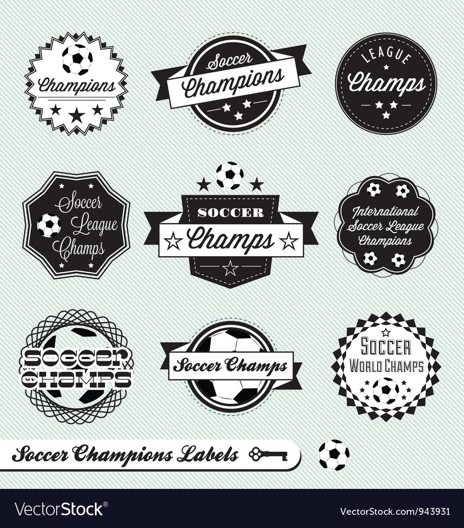 Soccer champs labels vector