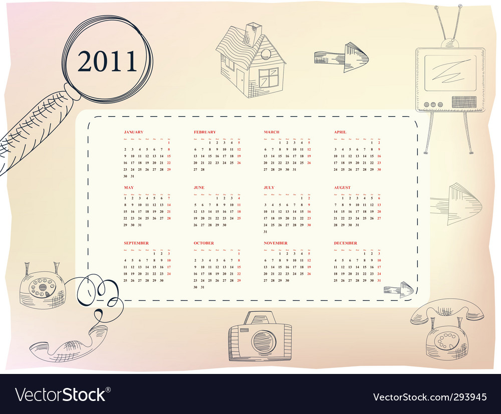 Template for calendar for 2011 vector