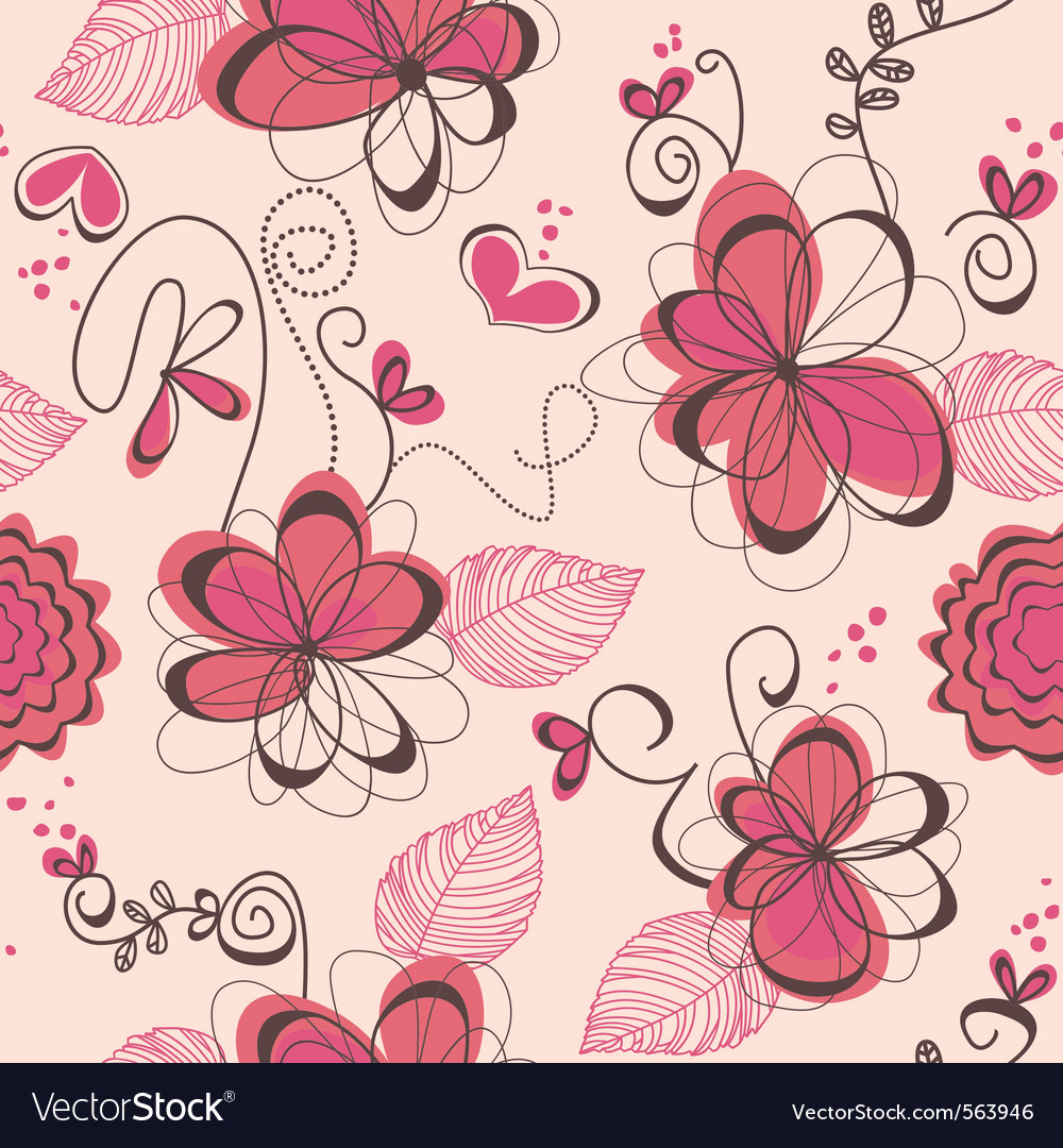 Pink romantic seamless pattern vector