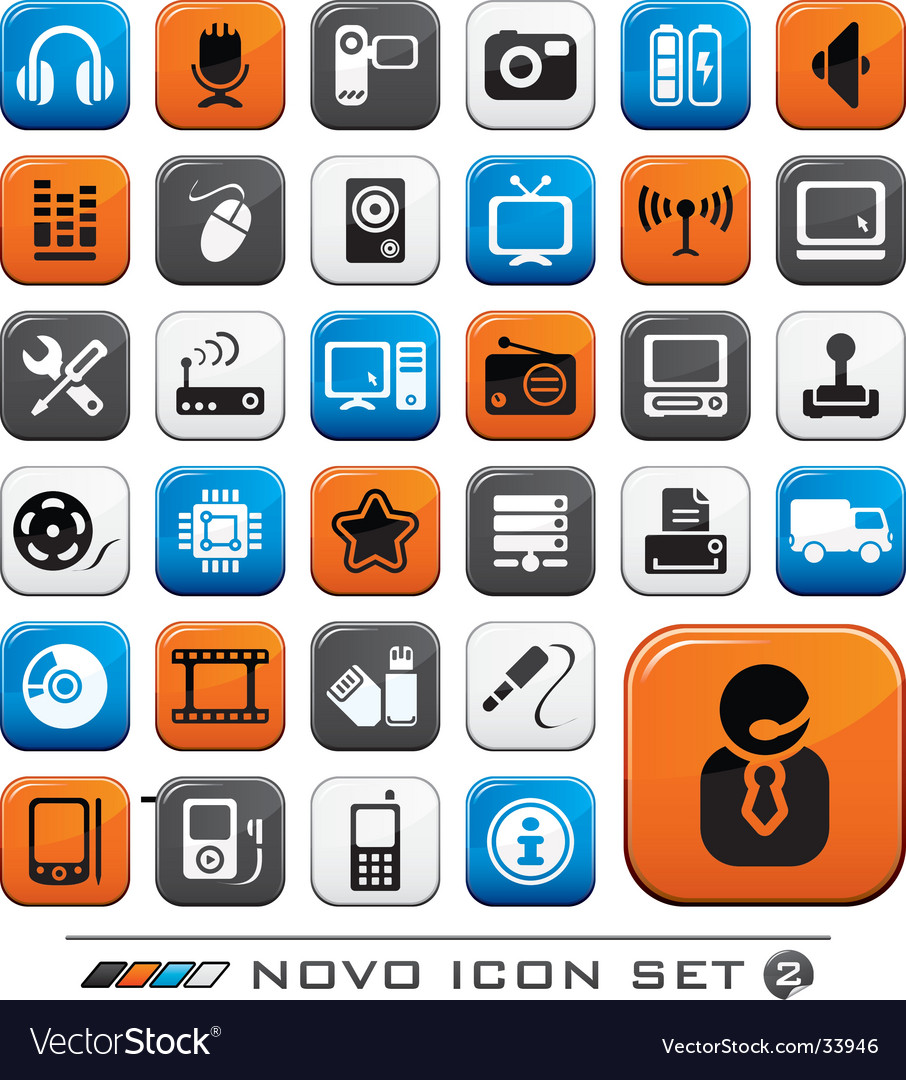 Video audio and computer icons vector