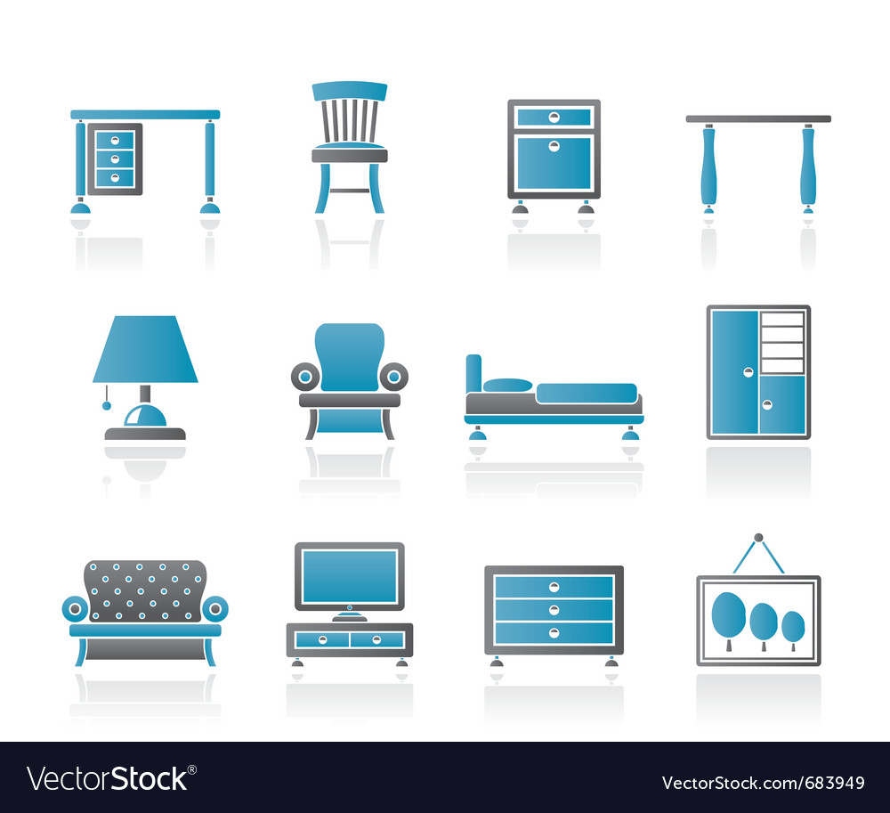 Home equipment and furniture icons vector