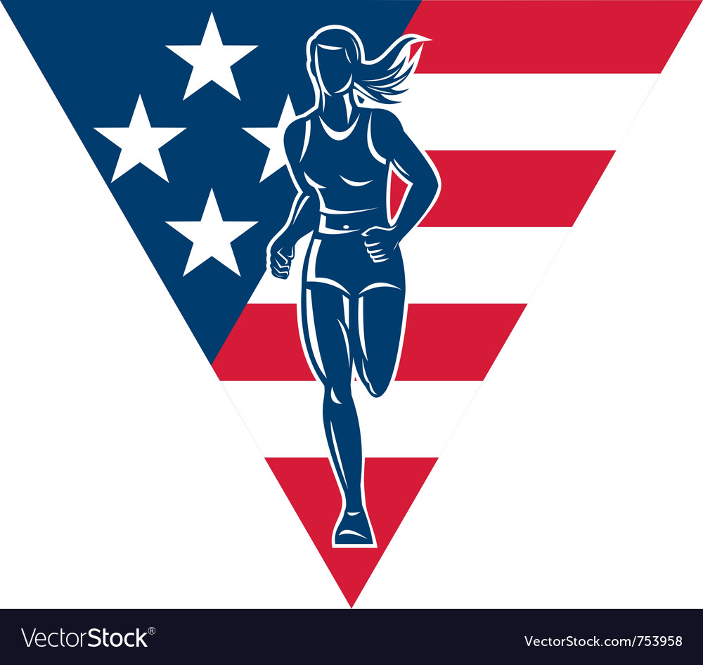 American female marathon runner vector