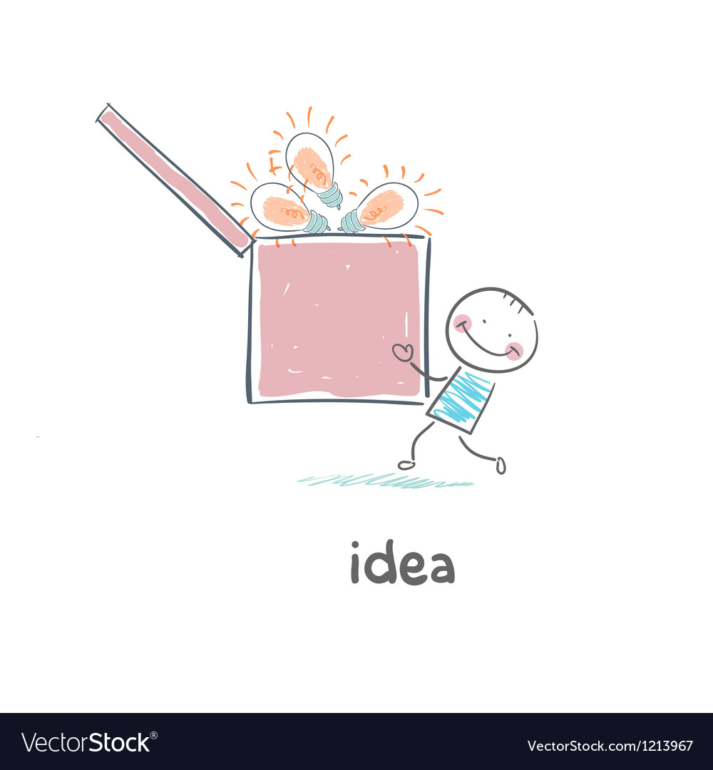A man carries a box of ideas concept ideas vector