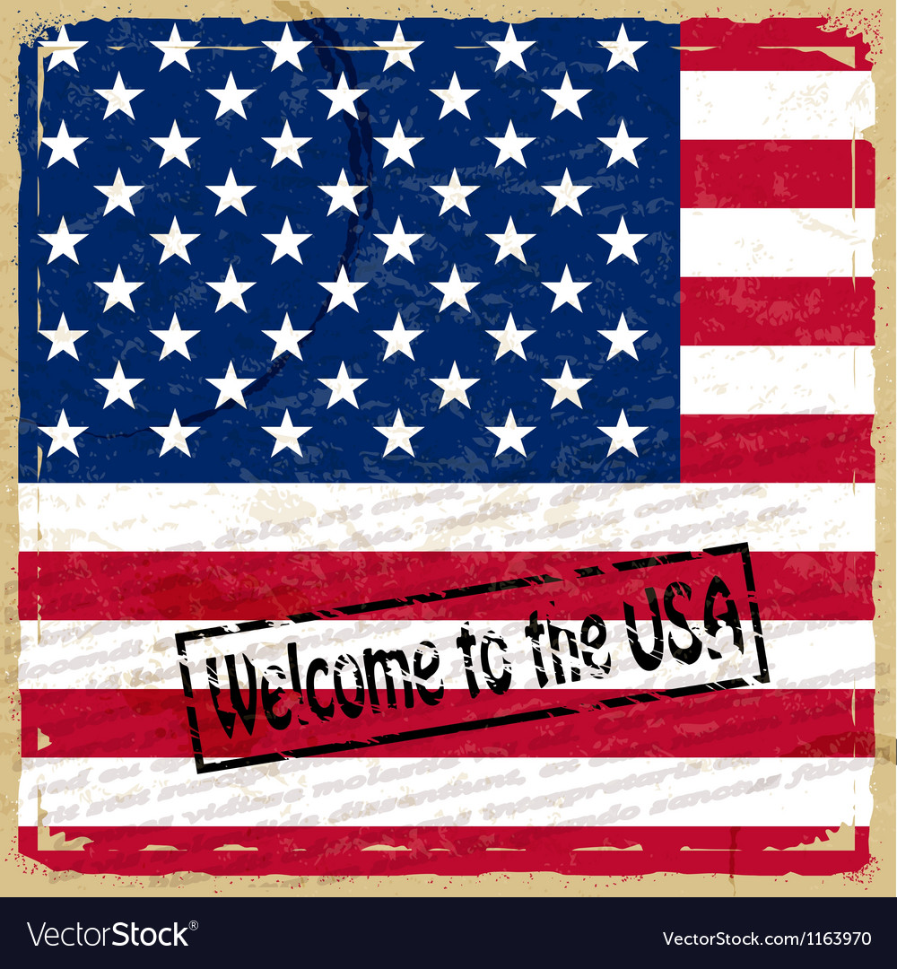 Vintage background with us flag vector
