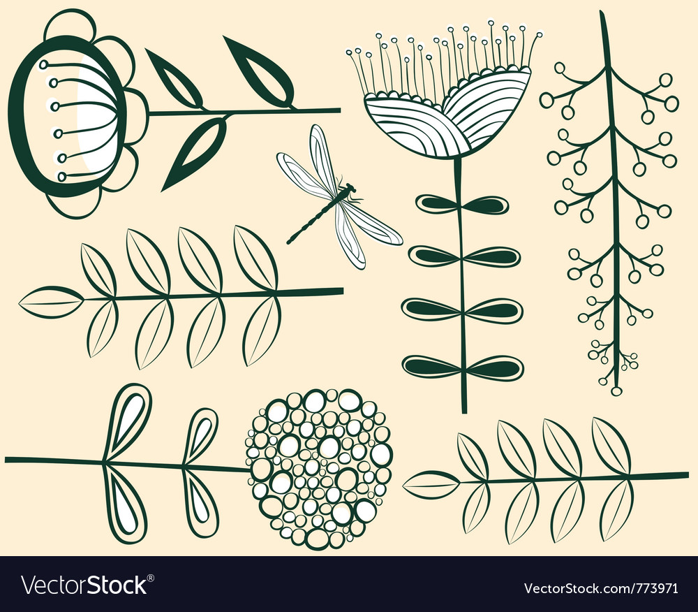 Seamless vintage flower pattern herbarium vector