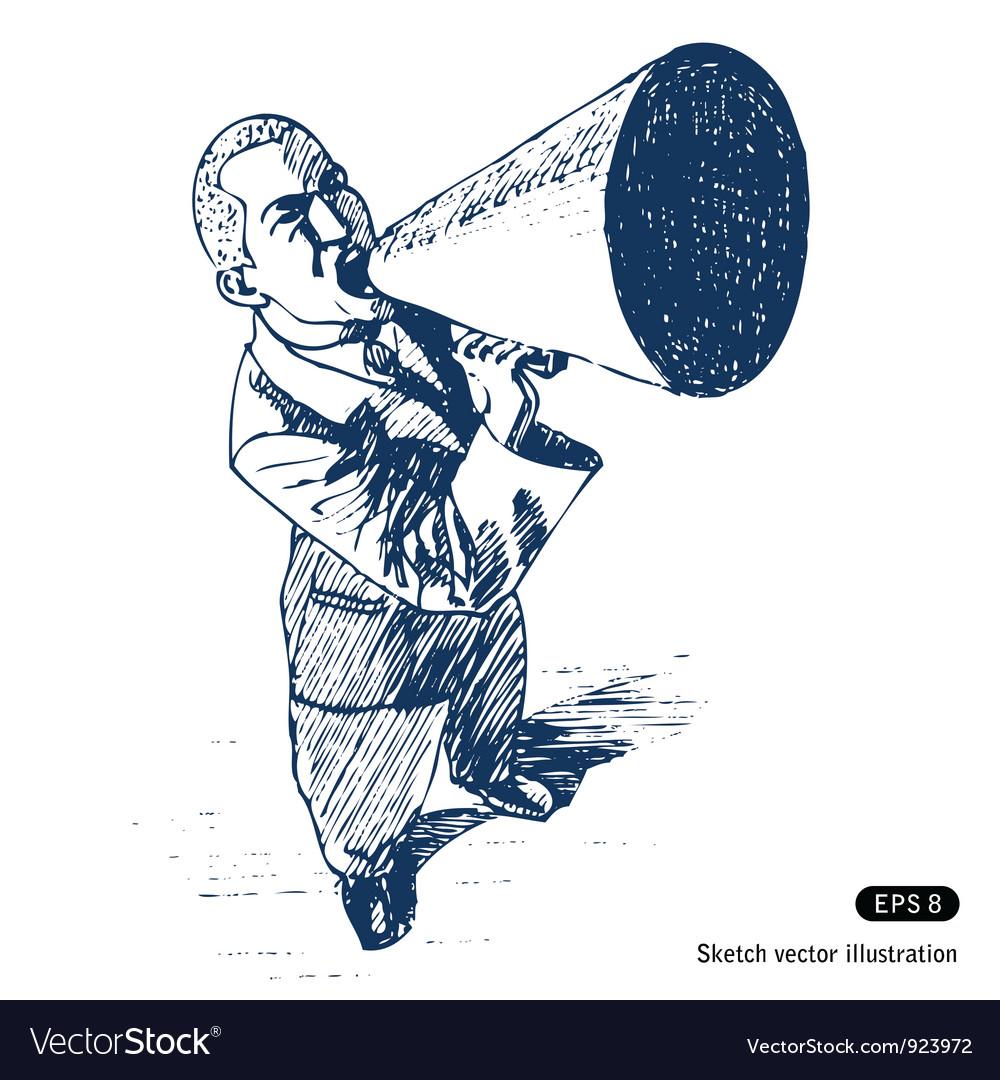 Man speaking in megaphone vector