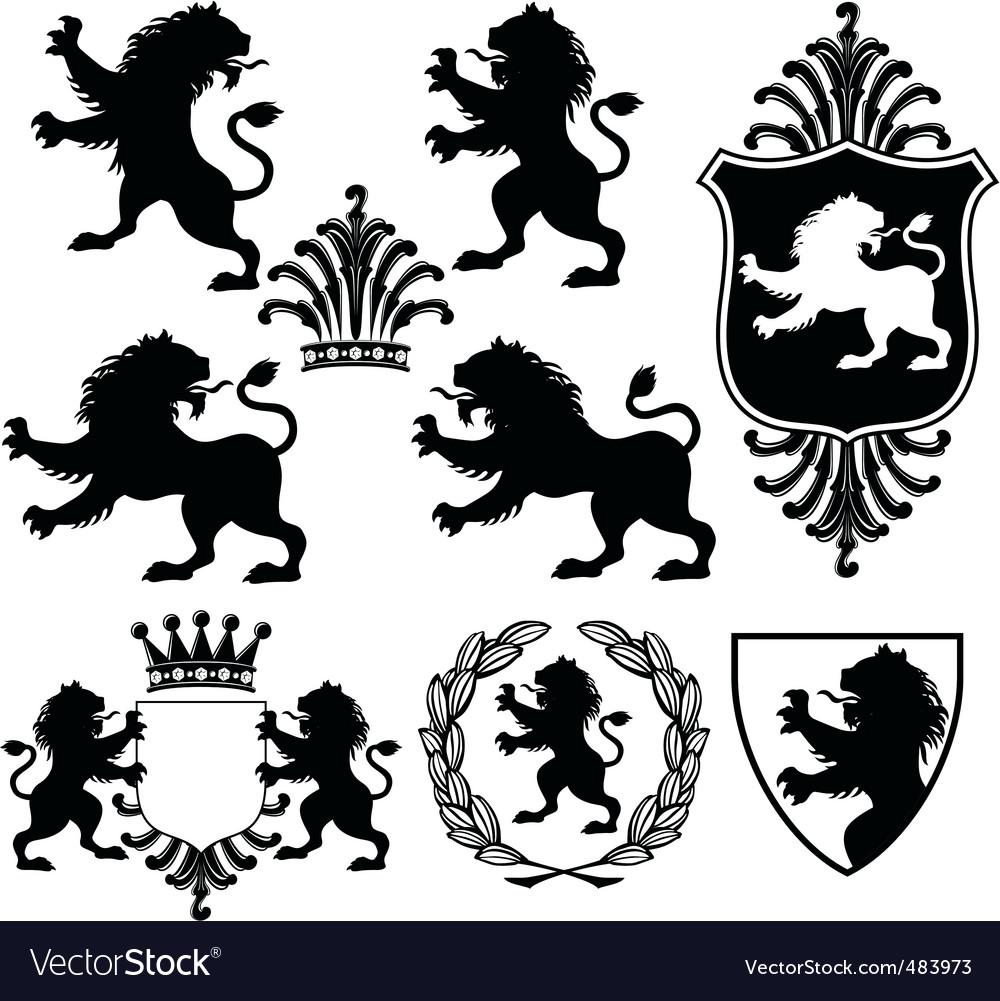 Heraldry silhouettes vector