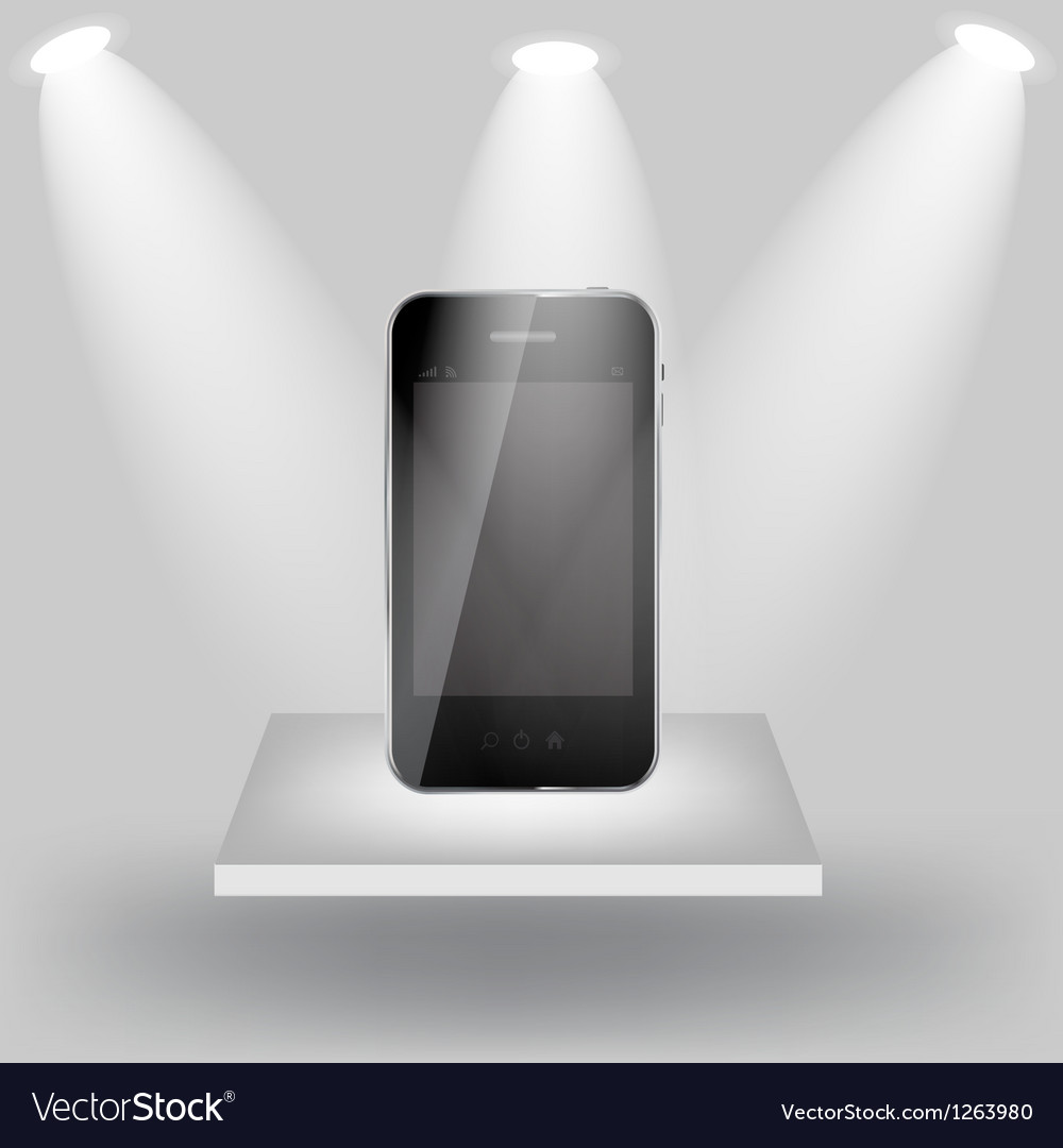 Mobile phone on white shelve on light grey vector