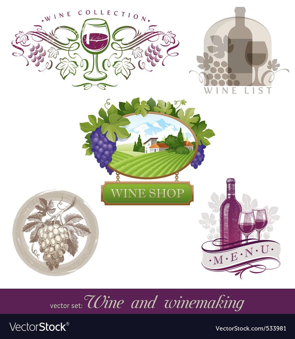 Wine  winemaking emblems vector