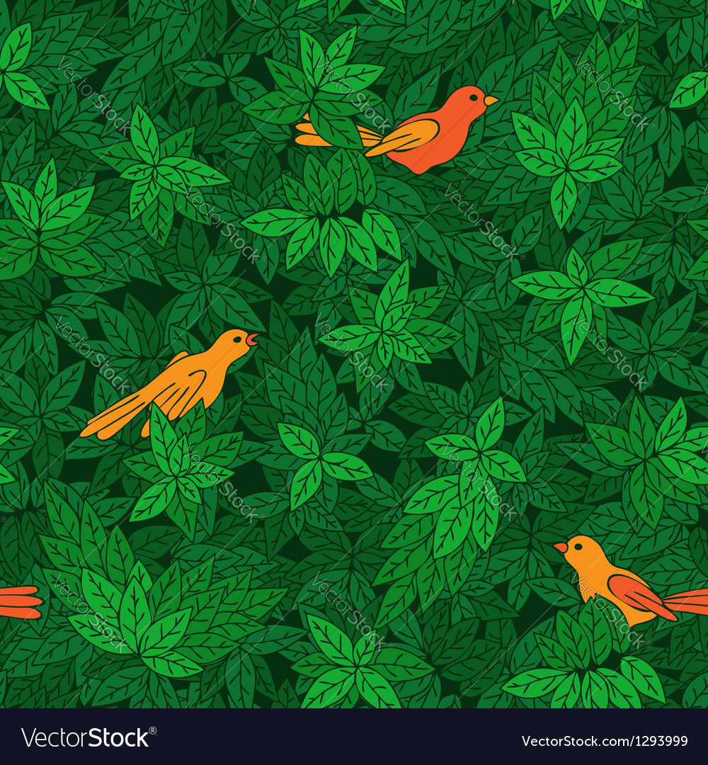 Foliate pattern with birds vector