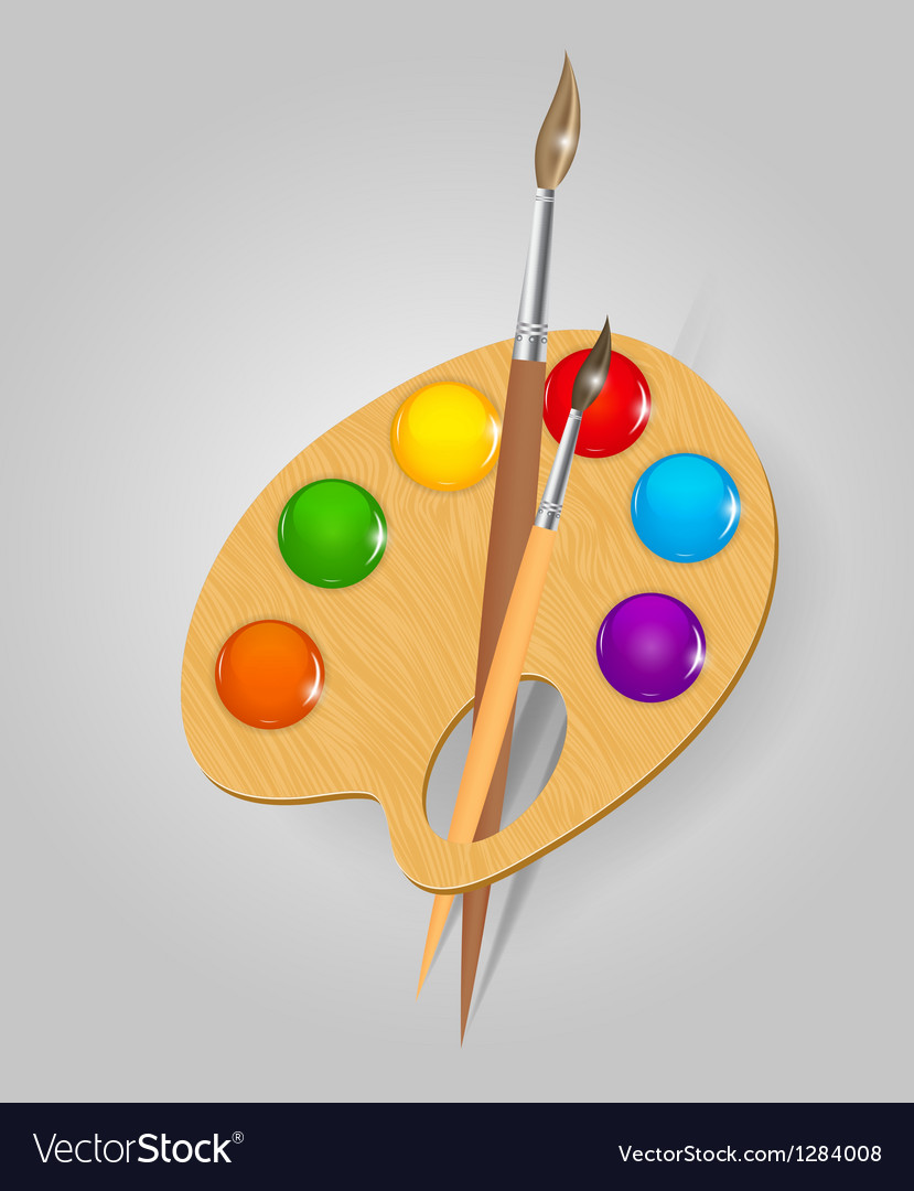 Wooden art palette with paints and brushe vector
