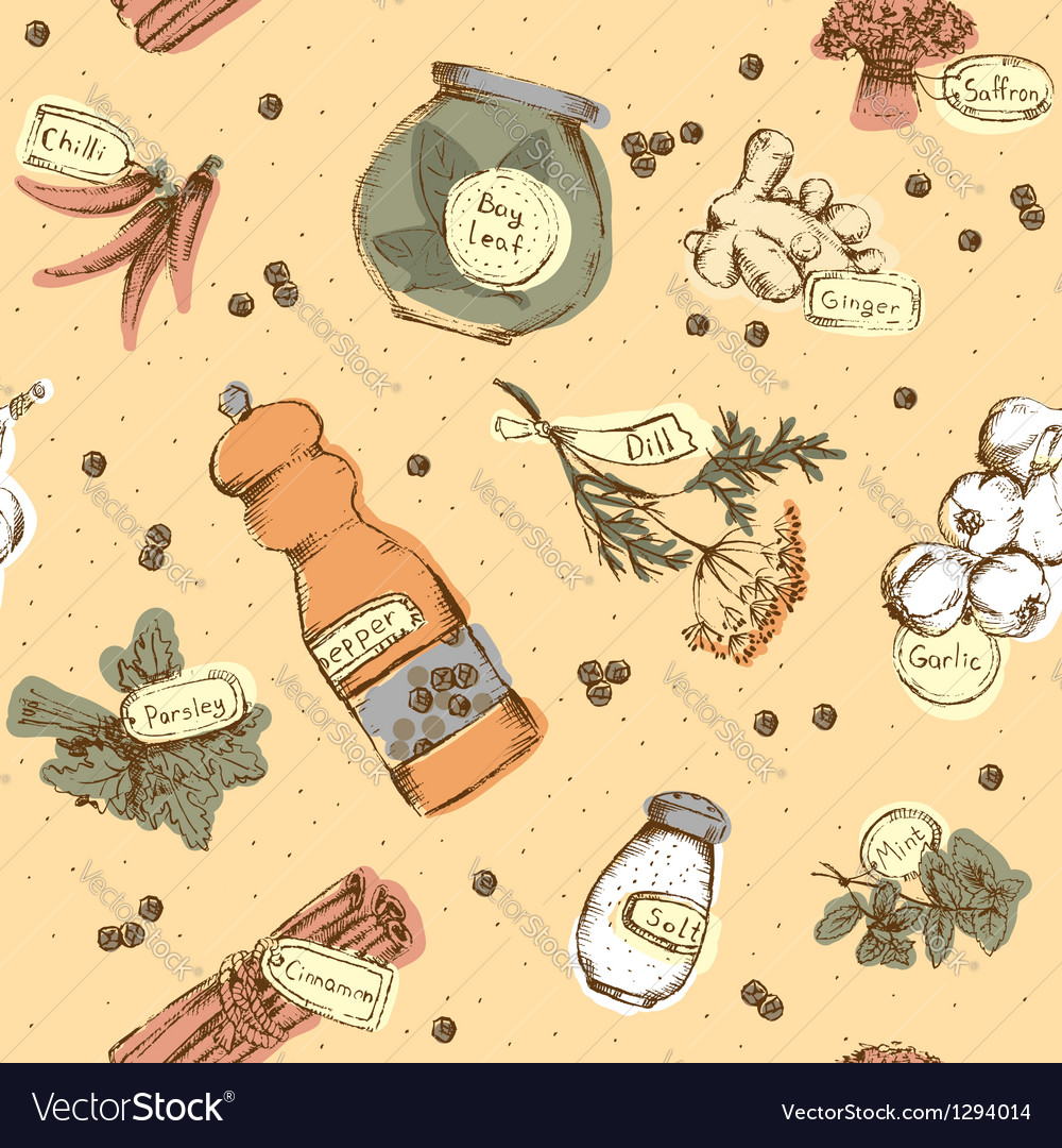 Seamless pattern of spices and herbs vector